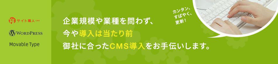 企業規模や業種を問わず、今や導入は当たり前 御社に合ったCMS導入をお手伝いします
